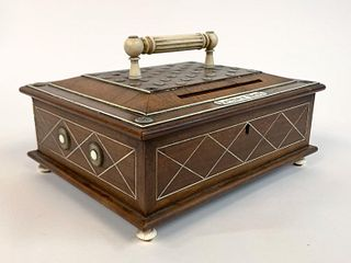 CIRCA 1890, ENGLISH OAK & BONE INLAID LETTER BOX