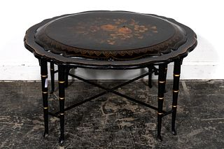 19TH C. ENGLISH PAPIER MACHE FLORAL TRAY TABLE