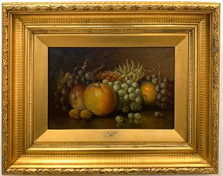 CHARLES T. BALE, STILL LIFE WITH FRUIT, SIGNED OIL