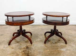 PAIR, MAHOGANY & LEATHER TOPPED DRUM TABLES