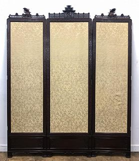 THREE PANEL CARVED CHINOISERIE FLOOR SCREEN