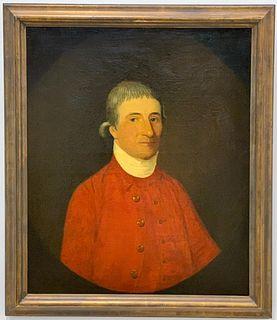 18TH C. OIL, PORTRAIT OF A HUNTSMAN IN RED COAT