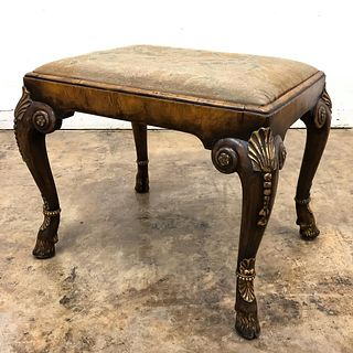 W. CHARLES TOZER QUEEN ANNE STYLE WALNUT FOOTSTOOL