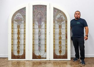 3 PANEL ART NOUVEAU STAINED GLASS INSTALLATION