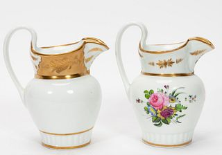 TWO, 19TH C. TUCKER FACTORY PORCELAIN PITCHERS