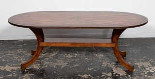 20TH CENTURY, BRASS INSET OAK OVAL DINING TABLE