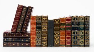 SET OF 16 LEATHER BOUND BOOKS, MOSTLY 19TH CENTURY