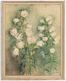 """ISABEL L. WHITNEY, """"WHITE DAISY"""" WATERCOLOR"""