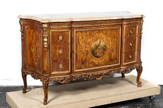 20TH CENTURY ROCOCO STYLE PAINTED COMMODE