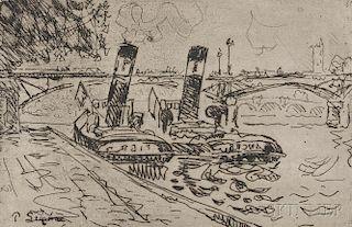 Paul Signac (French, 1863-1935)      Paris: Le Pont des Arts avec Remorqueurs