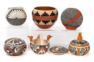 7 PC GROUPING, NATIVE AMERICAN POTTERY
