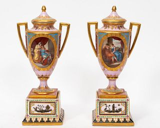 PAIR, ROYAL VIENNA FIGURAL PORCELAIN COVERED URNS