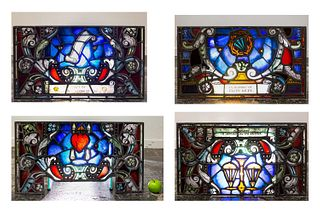 4 RELIGIOUS STAINED GLASS PANELS, EARLY 20TH C.