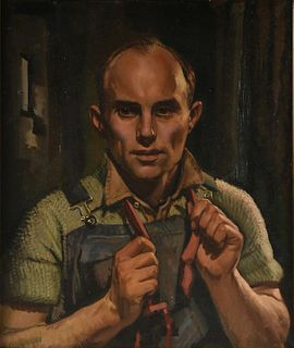 "after EDWARD HOPPER (American 1882-1967) A PAINTING, ""Portrait of a Man in Overalls and Cable Knit Sweater,"""