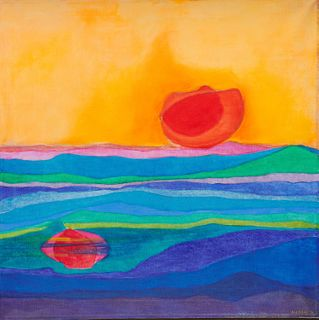 ALBERT ALCALAY, (American, 1917-2008), Floating Sun, 1974, oil on canvas, 36 x 36 in., frame: 37 1/2 x 37 1/2 in.