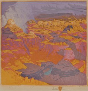 GUSTAVE BAUMANN, (American, 1881-1971), Grand Canyon, woodcut in colors, plate: 12 1/2 x 12 1/2 in., frame: 20 1/2 x 19 1/4 in.