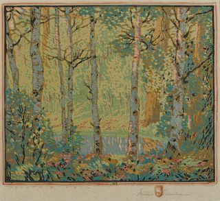 GUSTAVE BAUMANN, (American, 1881-1971), Mountain Lake, woodcut in colors, plate: 9 3/8 x 11 1/2 in., frame: 18 1/4 x 18 3/4 in.
