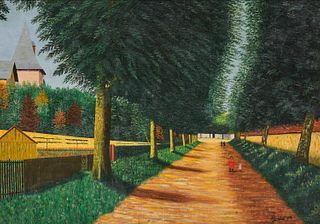 CAMILLE BOMBOIS, (French, 1883-1970), Allée à Chablis, oil on canvas, 25 1/2 x 36 1/2 in., frame: 32 1/2 x 42 1/2 in.