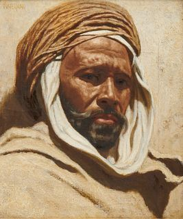 MARCUS A. WATERMAN, (American, 1834-1914), Mzabi - Chief of Caravan, oil on canvas, 12 x 10 in., frame: 24 1/2 x 20 1/2 in.