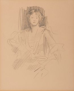 JOHN SINGER SARGENT, (American, 1856-1925), Preparatory Sketch: Grace Elvina, Marchioness Curzon of Kedleston, 1924, pencil on paper, sheet: 10 3/4 x