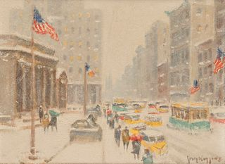 GUY CARLETON WIGGINS, (American, 1883-1962), Winter at the Library, oil on canvas board, 12 x 16 in., frame: 18 x 22 in.