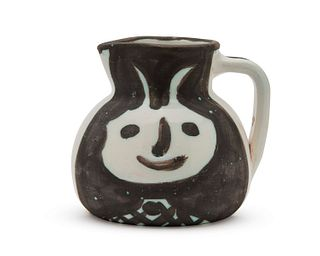 PABLO PICASSO, (Spanish, 1881-1973), Têtes (A.R. 367), white earthenware ceramic with white glaze and black oxide, height: 5 1/4 in.