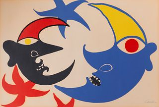 ALEXANDER CALDER, (American, 1898-1976), Les deux lunes, lithograph in colors, sheet: 29 1/2 x 43 in., frame: 29 x 53 in.