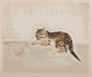 TSUGUHARU FOUJITA, (Japanese/French, 1886-1968), Chaton dormant près d'une balle, from Les Chats, etching and aquatint, sheet: 14 x 16 3/4 in., image: