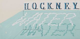 DAVID HOCKNEY, (British, b. 1927), Water, 1989, gouache on card stock with collage lettering, 9 x 18 in.