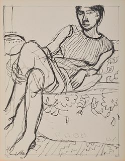 RICHARD DIEBENKORN, (American, 1922-1993), Seated Woman in Striped Dress, 1965, lithograph, 28 x 22 in., frame: 30 1/2 x 24 1/2 in.