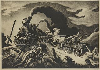 THOMAS HART BENTON, (American, 1889-1975), Wreck of the Old '97, lithograph, plate: 10 1/4 x 14 7/8 in., frame: 16 3/4 x 20 3/4 in.