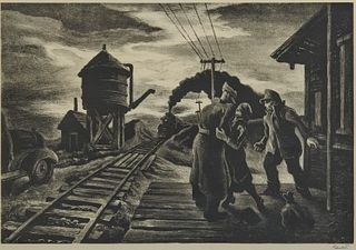 THOMAS HART BENTON, (American, 1889-1975), Morning Train, lithograph, plate: 9 1/2 x 13 1/2 in., frame: 16 3/4 x 20 5/8 in.