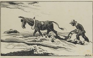 THOMAS HART BENTON, (American, 1889-1975), Plowing It Under, lithograph, plate: 8 x 13 1/4 in., frame: 17 1/2 x 23 in.