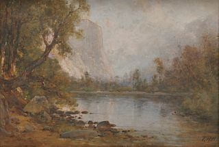 THOMAS HILL, (American, 1829-1908), Echo Lake and El Capitan, Yosemite, oil on card, 14 x 20 in., frame: 17 x 23 1/2 in.