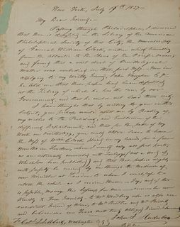 One page autograph letter signed John J[ames] Audubon, on wove paper, to Colonel John James Abert, from New York, July 17, 1837