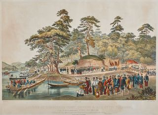 Hand-Colored Lithograph depicting The Landing of Commodore Perry, Officers, and Men of the Squadron