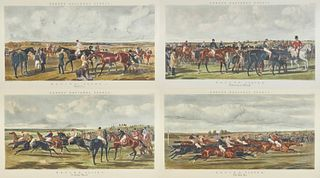 After JOHN FREDERICK HERRING, SR., (English, 1795-1865), Fores National Sports: Racing (Four Plates), aquatints, each plate: 24 1/2 x 44 1/2 in., each