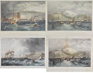 Four Colored Engravings of English Coastal Scenes