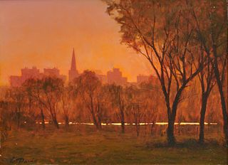 WILLIAM R. DAVIS, (American, b. 1952), Boston Common Sunset, 2003, oil on panel, 12 x 15 3/4 in., frame: 21 3/4 x 25 3/4 in.