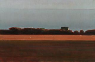 ALLEN WHITING, (American, b. 1946), Sheep on Whiting Farm, Martha's Vineyard, 1986, oil on canvas, 48 x 72 in., frame: 50 x 74 in.