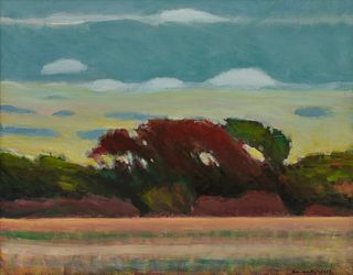 ALLEN WHITING, (American, b. 1946), Yellow Sunset, Chilmark, 1993, oil on canvas, 16 x 20 in., frame: 18 x 22 in.