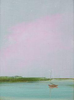 ANNE PACKARD, (American, b. 1933), Red Sail Boat, oil on board, 4 x 3 in., frame: 6 3/4 x 5 3/4 in.