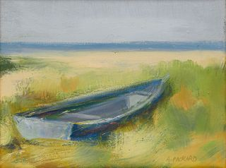 ANNE PACKARD, (American, b. 1933), Beach Side Skiff, 1999, oil on canvas, 11 x 14 in., frame: 16 x 19 in.