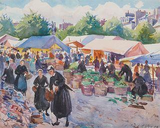 AIDEN LASSELL RIPLEY, (American, 1896-1969), Market Scene, 1920, oil on canvas board, 18 x 15 in., frame: 25 x 22 in.