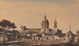 OGDEN MINTON PLEISSNER, (American, 1905-1983), Santa Maria degli Angeli, watercolor and ink wash, sight: 12 1/4 x 20 1/4 in., frame: 19 1/4 x 27 1/4 i