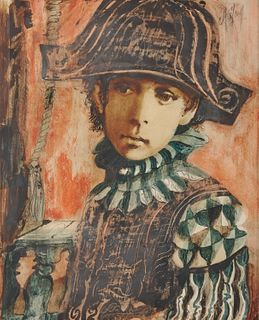 CONGER A. METCALF, (American, 1914-1998), Boy with Hat, gouache and oil on paper, sight: 14 x 12 in., frame: 24 x 20 in.