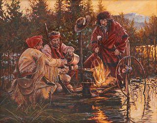 JOHN DeMOTT, (American, b. 1954), Beaver Men 'n Whiskey, oil on canvas, 24 x 30 in., frame: 33 x 39 in.