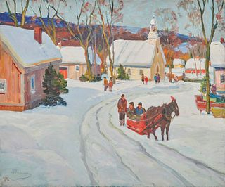 ANTHONY THIEME, (American, 1888-1954), Mountain Valley in Winter, oil on canvas, 25 x 30 in.