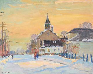 ANTONIO CIRINO, (American, 1889-1983), Snowy Street Scene, 1948, oil on artists board, 8 x 10 in., frame: 14 x 16 in.