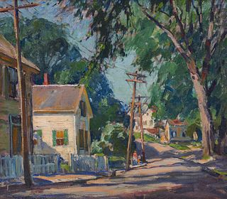 EMILE GRUPPE, (American, 1896-1978), Street View, oil on canvas, 18 x 20 in., frame: 21 1/2 x 23 1/2 in.